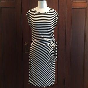 Black & cream striped knit dress side ruching L